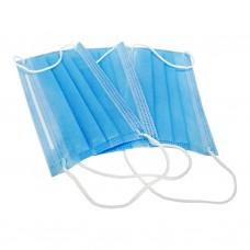 Маска медицинская одноразовая 3-х слойная из нетканного материала голубая, 50 шт.