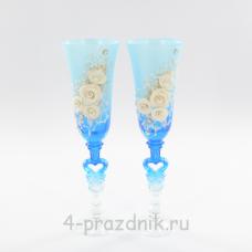 Бокалы декорированные, голубые bok120