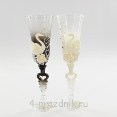 Бокалы декорированные - лебеди, ч/б bok122 оптом