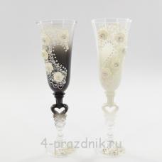 Бокалы декорированные - цветы, ч/б bok125