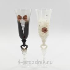 Бокалы декорированные - Жених Невеста с шоколадной отделкой bok127