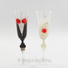 Бокалы декорированные - Жених Невеста с красной отделкой bok128