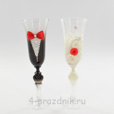 Бокалы декорированные - Жених Невеста с красной отделкой bok128 оптом