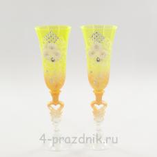 Бокалы декорированные, лимон-золото bok131
