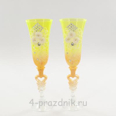 Бокалы декорированные, лимон-золото bok131 оптом