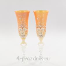 Бокалы декорированные, персиковые bok132