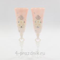 Бокалы декорированные, розово-белые bok135