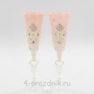 Бокалы декорированные, розово-белые bok135 оптом