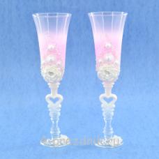 Бокалы декорированные, розовые прозрачные bok139