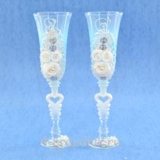 Бокалы декорированные, голубые прозрачные bok140