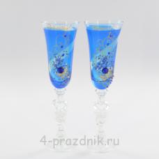 Бокалы декорированные, синие bok141