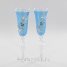 Бокалы декорированные, голубые bok145