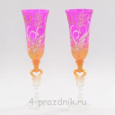 Бокалы с рисунком ярко-розовые с золотом bok149