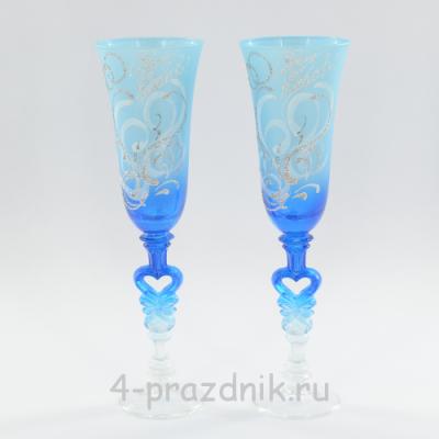 Бокалы с рисунком сине-голубые bok154 оптом