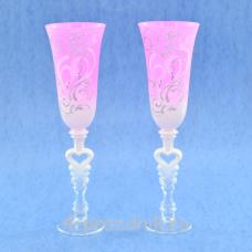 Бокалы с рисунком розовые матовые bok160