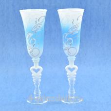 Бокалы с рисунком бело-голубые bok168