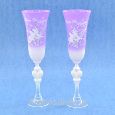 Бокалы с рисунком фиолетовые bok170 оптом