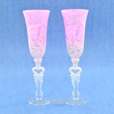 Бокалы с рисунком розовые матовые bok177