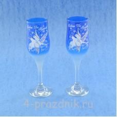 Бокалы с рисунком тулипы синие bok184