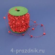 Бусины на леске в виде сердец красные busi008