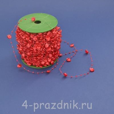 Бусины на леске в виде сердец красные busi008 оптом