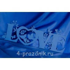 Декоративное слово LOVE с бабочками и птичками, синее 2677-sin