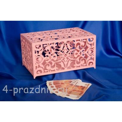Шкатулка резная для сбора денег розовая 2657-roz оптом