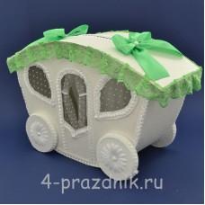Карета для сбора денег зеленом (яблочном) оформлении sbor053