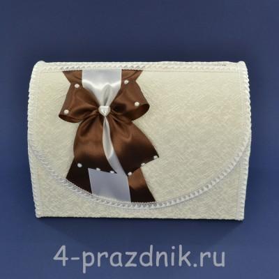 Сундук для сбора денег белый с шоколадного цвета бантом sbor060 оптом