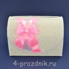 Сундук для сбора денег белый с розовым бантом sbor061