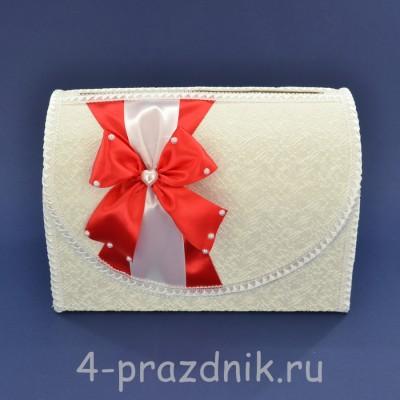 Сундук для сбора денег белый с красным бантом sbor062 оптом