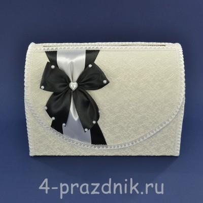 Сундук для сбора денег белый с черного цвета бантом sbor063 оптом