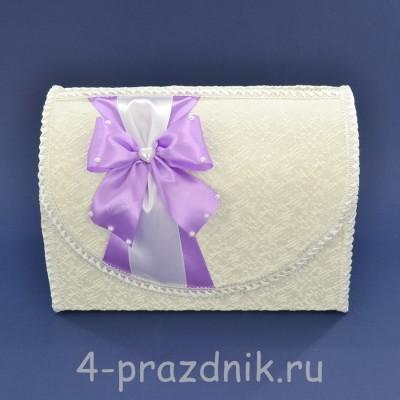 Сундук для сбора денег белый с сиреневым бантом sbor064 оптом