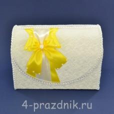 Сундук для сбора денег белый с желтым бантом sbor065