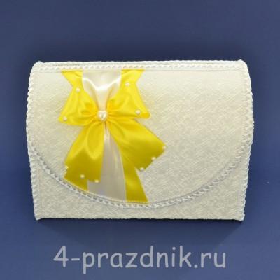 Сундук для сбора денег белый с желтым бантом sbor065 оптом