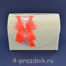 Сундук для сбора денег белый с оранжевым бантом sbor067