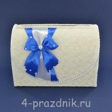 Сундук для сбора денег белый с голубым бантом sbor068