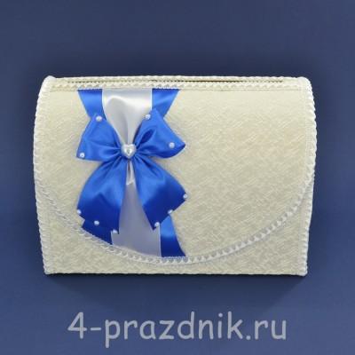 Сундук для сбора денег белый с голубым бантом sbor068 оптом