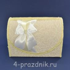 Сундук для сбора денег цвета айвори с белым бантом sbor069