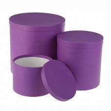 Набор коробок круглые высокие Пурпурный Холст 3 шт 30*30*30