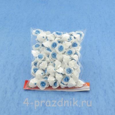 Цветы латексные размер №1, бело-голубые latex003 оптом