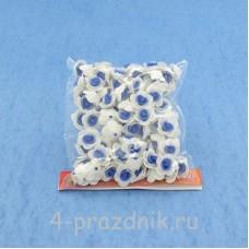 Цветы латексные размер №1, бело-синие latex004