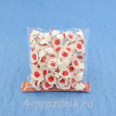 Цветы латексные размер №1, бело-красные latex005 оптом