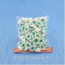 Цветы латексные размер №1, бело-бирюзовые latex006
