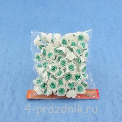 Цветы латексные размер №1, бело-бирюзовые latex006 оптом