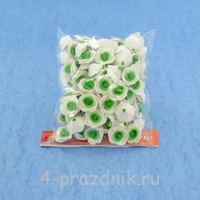 Цветы латексные размер №1, бело-зеленые latex008 оптом