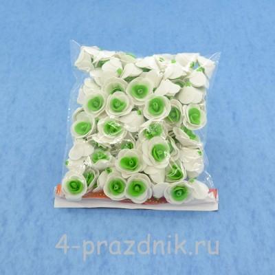 Цветы латексные размер №1, бело-светло-зеленые latex009 оптом