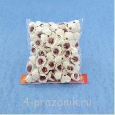 Цветы латексные размер №1, бело-бордовые latex010