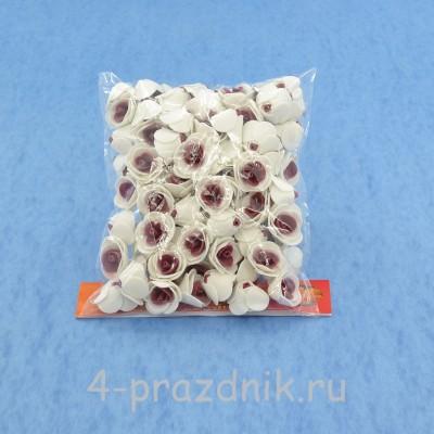 Цветы латексные размер №1, бело-бордовые latex010 оптом