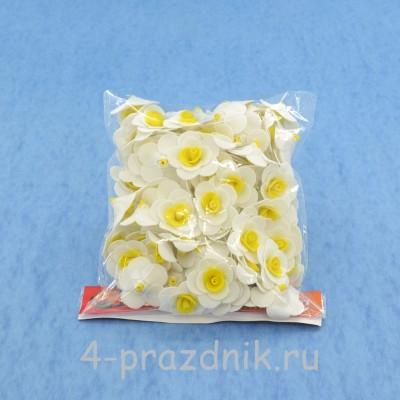 Цветы латексные размер №1, бело-желтые latex011 оптом